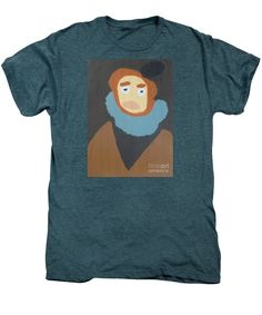 Patrick Francis Premium Steel Blue Heather Designer T-Shirt featuring the painting Portrait Of Maria Anna 2015 - After Diego Velazquez by Patrick Francis