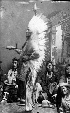 Chief Washakie and group. Shoshone. Late 1800s. Photo by Rose and Hopkins. Source - Denver Public Library