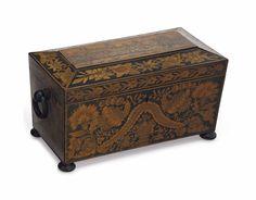 A regency penwork tea caddy - EARLY 19TH CENTURY //  Price Realized      $500 - / 2014 //  - Maria Elena Garcia -  ► www.pinterest.com/megardel/ ◀︎