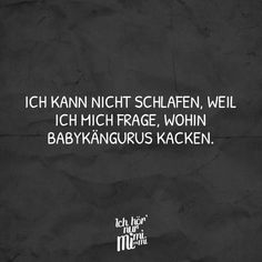 Ich kann nicht schlafen, weil ich mich frage, wohin Babykängurus kacken. Best Quotes, Funny Quotes, Funny Memes, Hilarious, Word Pictures, Funny Pictures, Quotations, Qoutes, Visual Statements