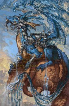 """2015 Zodiac Dragon Aquarius Print (8.5"""" X 11"""") by Christina M. Yen"""