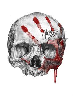 Skull Drawings Skull and blood drawing by Helenhsd on deviantART # Tattoo Drawings, Pencil Drawings, Art Drawings, Tattoo Crane, Totenkopf Tattoos, Arte Sketchbook, Skulls And Roses, Arte Horror, Alien Vs Predator