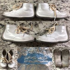 d81e3636ccaf Vintage Jumping Jacks white Leather lace up baby shoes made by Bristol Shoes