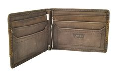Levi's Brown Tonal Stitched Money Clip Bifold Wallet