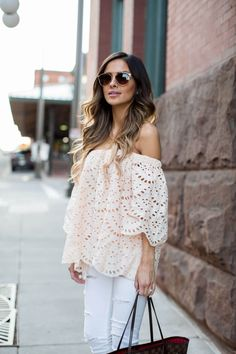 mia mia mine in a lace off shoulder top from shopbop