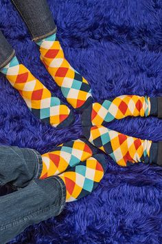 Colorful checker socks for the whole family. Matching Socks, Colorful, Knitting, Fun, Kids, Stuff To Buy, Women, Fashion, Young Children
