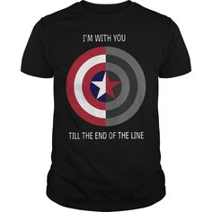 Captain America's shield: I'm With You Till The End Of The Line shirt End Of The Line, Till The End, Captain America Shirt, Vinyl Designs, Vinyls, Chicago Cubs Logo, Husband, Hoodies, My Love