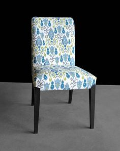 Ikat Green Blue IKEA HENRIKSDAL Custom Dining Chair Cover
