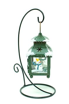 Metal Frame Holiday Hanging Lantern Christmas Tealight Holder Decoration Santa Snowman Painted Standing Hook And Lantern Blue Lantern >>> Find out more about the great product at the image link.