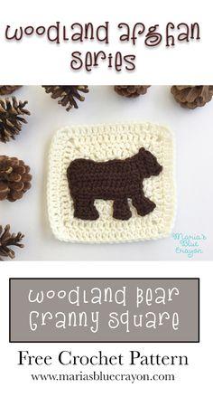 Woodland Bear Granny Square | Woodland Afghan Series | Free Crochet Pattern