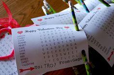 amazing mae: printable valentine word search Nose pencil sharpener valentine too!