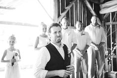Groom's first look at bride.  Barn wedding.