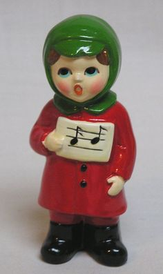 Christmas Ceramic Caroler Figurine by R/B by Old Time Christmas, Christmas China, Old Fashioned Christmas, Christmas Makes, Antique Christmas, Vintage Christmas Ornaments, Christmas Items, Vintage Holiday, Christmas Carol