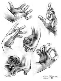"Today's Drawing Class ""How to Draw Hands: Hands look complicated to draw but learn a few little tricks and you'll be drawing like the Masters: Hands Art Tutorials Life Drawing, Figure Drawing, Drawing Sketches, Painting & Drawing, Art Drawings, Drawing Hands, Sketch 2, Hand Sketch, Anatomy Drawing"