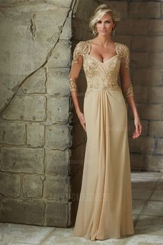 A-Line/Princess Asymmetrical Floor-length Chiffon Mother of the Bride Dress