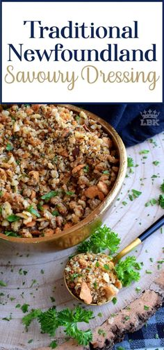 Loved throughout Newfoundland, this traditional baked dressing uses pure savoury to transform a bread stuffing into something extraordinarily tasty! Canadian Dishes, Canadian Food, Canadian Snacks, Canadian Cuisine, Canadian Recipes, Jiggs Dinner, Fried Hot Dogs, Holiday Recipes, Dinner Recipes