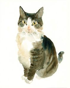 Custom PET PORTRAIT Original watercolor painting 8X10inch. I would just love one of these for each of my kitties. Or maybe one with all of them in it. Including Gryphon.
