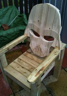Not to be outdone by Stormtroopers, and let's face it, that would be embarrassing, Darth Vader has a patio chair for himself. The chair is the work of GotWood Workshop. Via Geekologie Advertisement