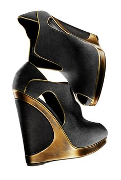 YVES SAINT LAURENT  Grey peep-toe pull-on wedge with gold leather trim, 4″ heel with platform