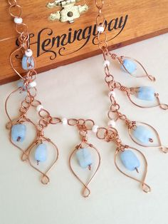 Necklace - Aquamarine and Copper, Leaf Drop Pendants, Handcrafted Artisan Jewelry, Unique Style, One of a Kind by MishaLittlejohn on Etsy