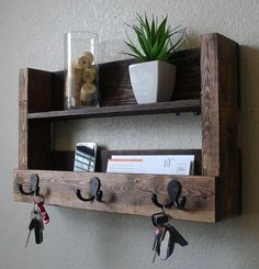 Items similar to Modern Rustic Entryway Organizer Shelf with Satin Nickel Coat Hat Hooks on Etsy Rustic Entryway 3 Hanger Hook Coat Rack with Shelf and by KeoDecor Diy Wood Projects, Wood Crafts, Woodworking Projects, Youtube Woodworking, Woodworking Videos, Rustic Home Design, Rustic Decor, Rustic Furniture, Diy Furniture
