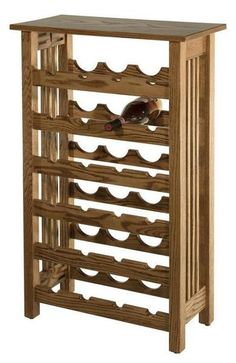 Amish Hardwood Mission Wine Rack Six rows to accommodate your collection of fine wine. Built by hand with the solid wood you select and finished in the stain you like best. Amish made wood furniture. #winerack
