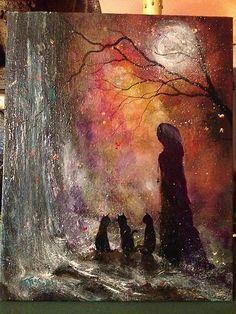 $45 Original OOAK Painting Witch Cat Girl Halloween Gothic Folk Art Terri Foss