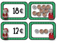 Here's a set of Christmas themed materials for counting coins.