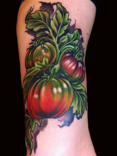 heirloom tomato tattoo Done by Jessi Lawson instagram- @Jessi_Lawson_Tattooer www.JessiLawson.com