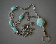 Ocean Blue Amazonite and Silver ID Badge/Lanyard Necklace  OOAK