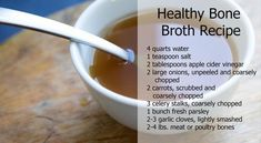 Bone Broth. I was wondering how to make this! I am supposed to have bone broth for tooth remineralization. Put in slow cooker, bring to boil, then cook on low for 12 - 24 hrs. (whoa long time but tastes better with time). Strain and serve.