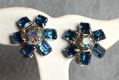 Weiss Blue Rhinestone Earrings Clip Back Vintage