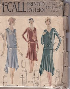 1920s Dress Vintage Sewing Pattern Bust 36 by ViennasGrace on Etsy