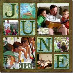June digital scrapbook calendar...I might want to do something like this but in print