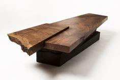 Live Edge Claro Walnut slab coffee table or low dining table with charred reclaimed railroad station beams brass corsets.Handmade furniture designed and built in Los Angeles, California. Furniture Projects, Table Furniture, Rustic Furniture, Furniture Making, Luxury Furniture, Furniture Websites, Cozy Furniture, Furniture Repair, Furniture Movers