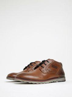 1a3ee87dcf8 Hnědé pánské kožené kotníkové boty s.
