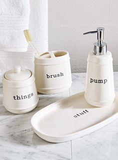 better homes and gardens words toothbrush holder covered jar vanity tray and
