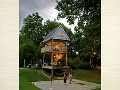 This is an awesome adult sized tree house...my dream house if only it was on a lake and had a hammock:)