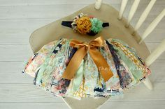 Mint Gold Navy Pink Vintage Shabby Chic Floral Fabric Rag Tie Baby Tutu Bow Headband birthday outfit cake smash newborn toddler photography on Etsy, $54.99