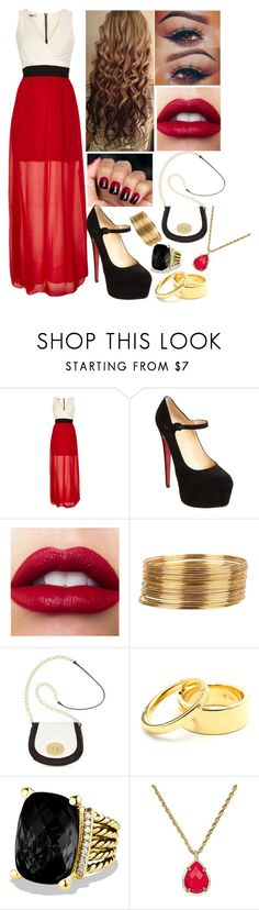 """Happy New Years/Eve"" by rocketsheep ❤ liked on Polyvore featuring WalG, Christian Louboutin, Armitage Avenue, Emma Fox, Coléoptère, David Yurman, Kendra Scott, NewYears, 2013 and 2014"