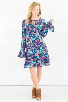 Lovely Blue Dress- Floral Print Dress- Bell Sleeve Dress- $45- Juliana's Boutique