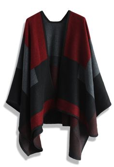 Wine Color Blocks Blanket Cape - New Arrivals - Retro, Indie and Unique Fashion