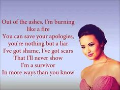 """My favorite lyric from the song is: """"I've got shame, I've got scars that I will never show. I'm a survivor in more ways than you know"""""""