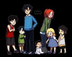 From left to right: Jason Todd age 10, Tim Drake age 6, Dick Grayson age 14, Damian Wayne age 16 months, Barbara Gordon age 15, Stephanie Brown age 5, Cassandra Cain age 4