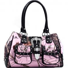 Mossy Oak® Camo Rhinestone Studded Buckle Western Tote Bag with Faux Croc Trim Only Sold 45.00 - fashlets.com