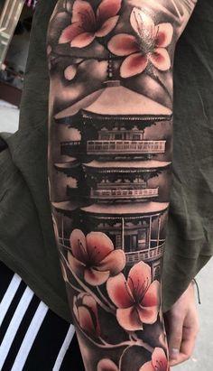 Hand Tattoos for Guys Ideas Design Japanese Forearm Tattoo, Japanese Temple Tattoo, Japanese Tattoo Art, Japanese Dragon Tattoos, Japanese Tattoo Designs, Japanese Sleeve Tattoos, Irezumi Tattoos, Geisha Tattoos, Forearm Tattoos