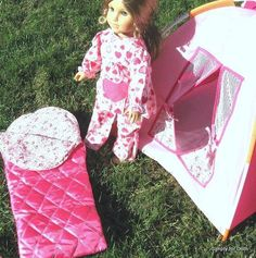 "3pc PINK Camping TENT SLEEPING BAG & CASE SET for 18"" Girl Doll AMERICAN SELLER in American Girl 