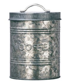 Another great find on #zulily! 'Coffee' Rustic Kitchen Galvanized Metal Canister #zulilyfinds