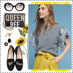 Queen Bee by abmcgrath on Polyvore featuring Father's Daughter, Jon Josef, Circus by Sam Edelman, Prada, Pier 1 Imports and yellow