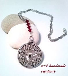 Handmade silver chain pendant with a big silver by thenkcreations
